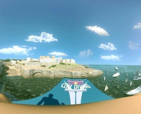 Virtual Reality video animation 360 Redbull cliff diving