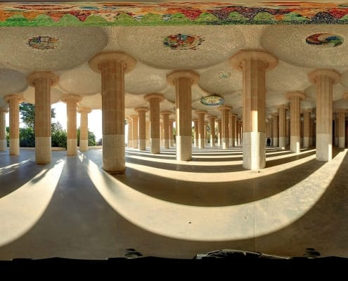 Virtual reality video 360 park guell